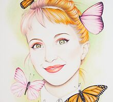 Hayley Williams with butterflies by artforhayley