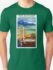 New Zealand Vintage Travel Poster Restored Unisex T-Shirt