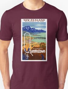 New Zealand Vintage Travel Poster Restored T-Shirt