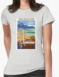 New Zealand Vintage Travel Poster Restored Womens Fitted T-Shirt
