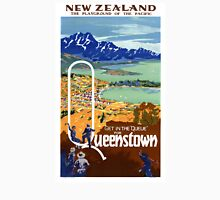 New Zealand Vintage Travel Poster Restored Unisex T-Shirt