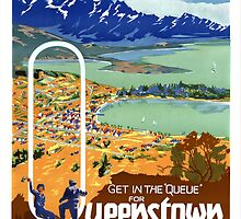 New Zealand Vintage Travel Poster Restored by Carsten Reisinger