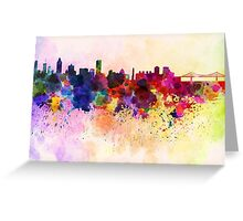 Montreal skyline in watercolor background Greeting Card