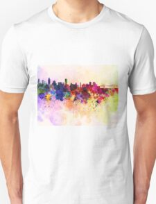 Montreal skyline in watercolor background T-Shirt