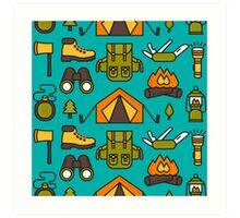 Camping Pattern Art Print