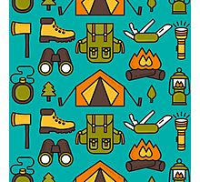 Camping Pattern Photographic Print