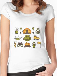 Camping Pattern Women's Fitted Scoop T-Shirt