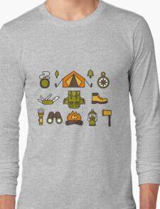 Camping Pattern Long Sleeve T-Shirt