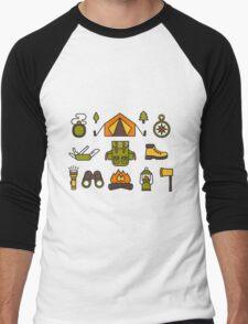 Camping Pattern Men's Baseball ¾ T-Shirt
