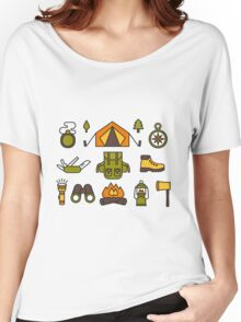 Camping Pattern Women's Relaxed Fit T-Shirt