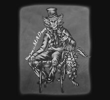 Chalk Mad Hatter with March Hare Wonderland Drawing Unisex T-Shirt