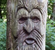Tree Carving in the Woods Sticker