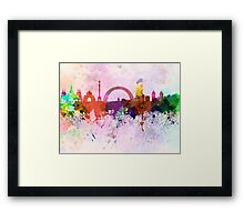 Kiev skyline in watercolor background Framed Print