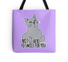 Not Here to Smile For You - Feminist Cat Tote Bag