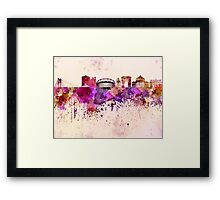 Bucharest skyline in watercolor background Framed Print