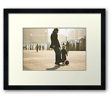 Father-Son Footie Framed Print