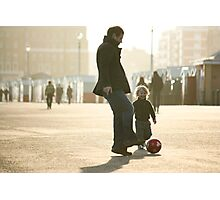 Father-Son Footie Photographic Print