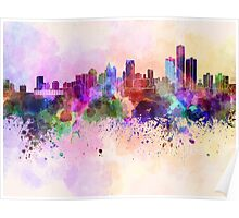 Detroit skyline in watercolor background Poster