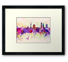 Munich skyline in watercolor background Framed Print