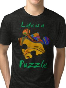 Life is a puzzle, green  Tri-blend T-Shirt