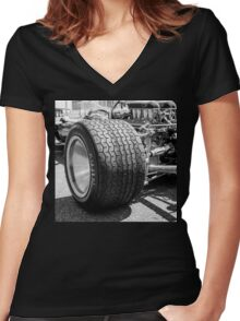 Vintage racing car tire Women's Fitted V-Neck T-Shirt