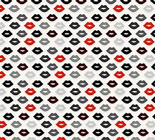 Red and Black Lips Pattern by XOOXOO