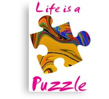 Life is a puzzle, red Canvas Print