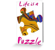 Life is a puzzle, red Greeting Card