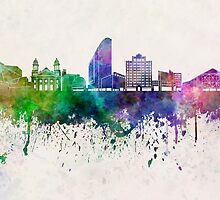 San Jose skyline in watercolor background by paulrommer
