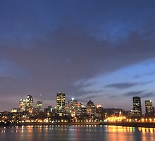 Downtown Montreal ultra wide  at night by Sylvain Dumas