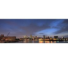 Downtown Montreal ultra wide  at night Photographic Print