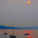 orange sun on the sea by TerrillWelch