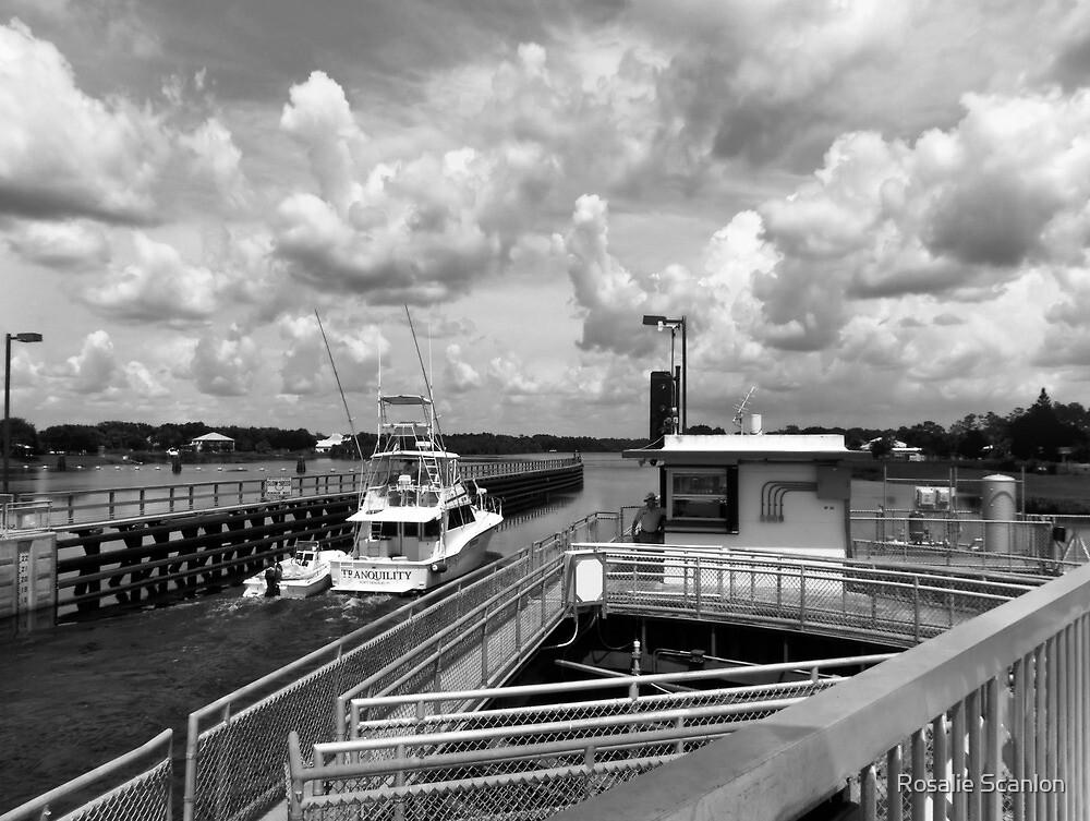 Yacht Passing through Locks by Rosalie Scanlon