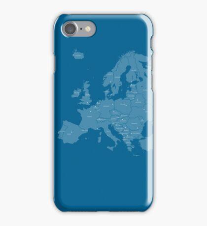 Europe map in blue iPhone Case/Skin