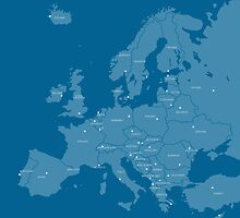 Europe map in blue by ravynka