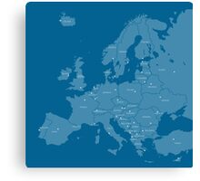 Europe map in blue Canvas Print