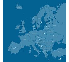 Europe map in blue Photographic Print