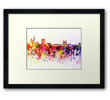 Marseilles skyline in watercolor background Framed Print