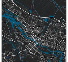 Bremen city map black colour by mmapprints