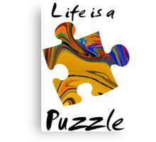 Life is a puzzle, black  Canvas Print