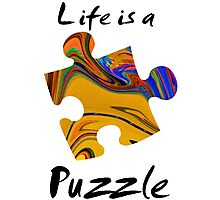 Life is a puzzle, black  Photographic Print