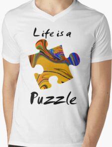 Life is a puzzle, black  Mens V-Neck T-Shirt