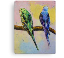 Green and Violet Budgies Canvas Print
