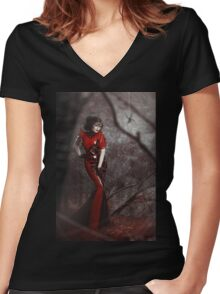 Red Widow Women's Fitted V-Neck T-Shirt