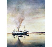 Calm day off West Falkland; The old coastal steamer Photographic Print