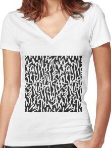 Modern Messy White & Black Paint Brushstrokes Women's Fitted V-Neck T-Shirt