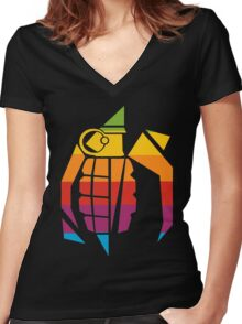 Think Awful Logo Women's Fitted V-Neck T-Shirt