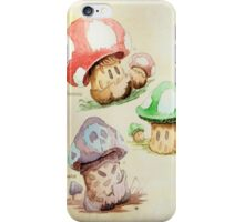 Mario Mushrooms Botanical Illustration iPhone Case/Skin
