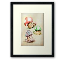 Mario Mushrooms Botanical Illustration Framed Print