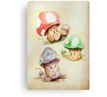 Mario Mushrooms Botanical Illustration Canvas Print